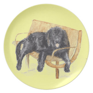 Newfoundland Dog on bench, Dinner Plate
