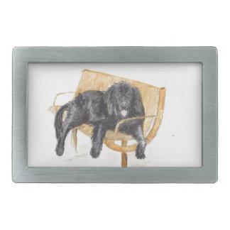 Newfoundland Dog on bench, Rectangular Belt Buckle