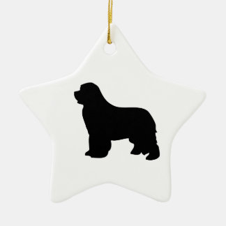 Newfoundland dog ornament, black silhouette, gift