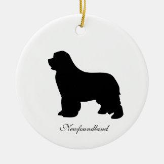 Newfoundland dog ornament, black silhouette, gift ceramic ornament