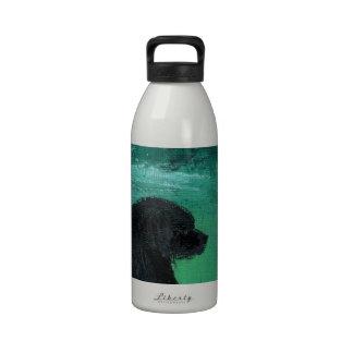 Newfoundland dog painting water bottles