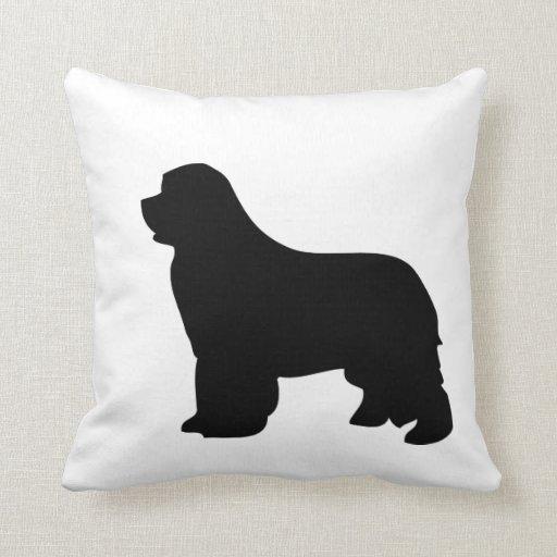 Newfoundland dog pillow, black silhouette cushion throw pillows