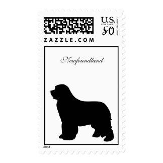 Newfoundland dog postage, black silhouette postage