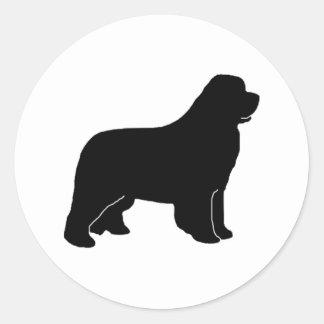 Newfoundland dog silhouette classic round sticker