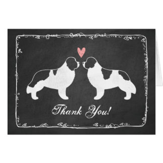 Newfoundland Dog Silhouettes Wedding Thank You Card