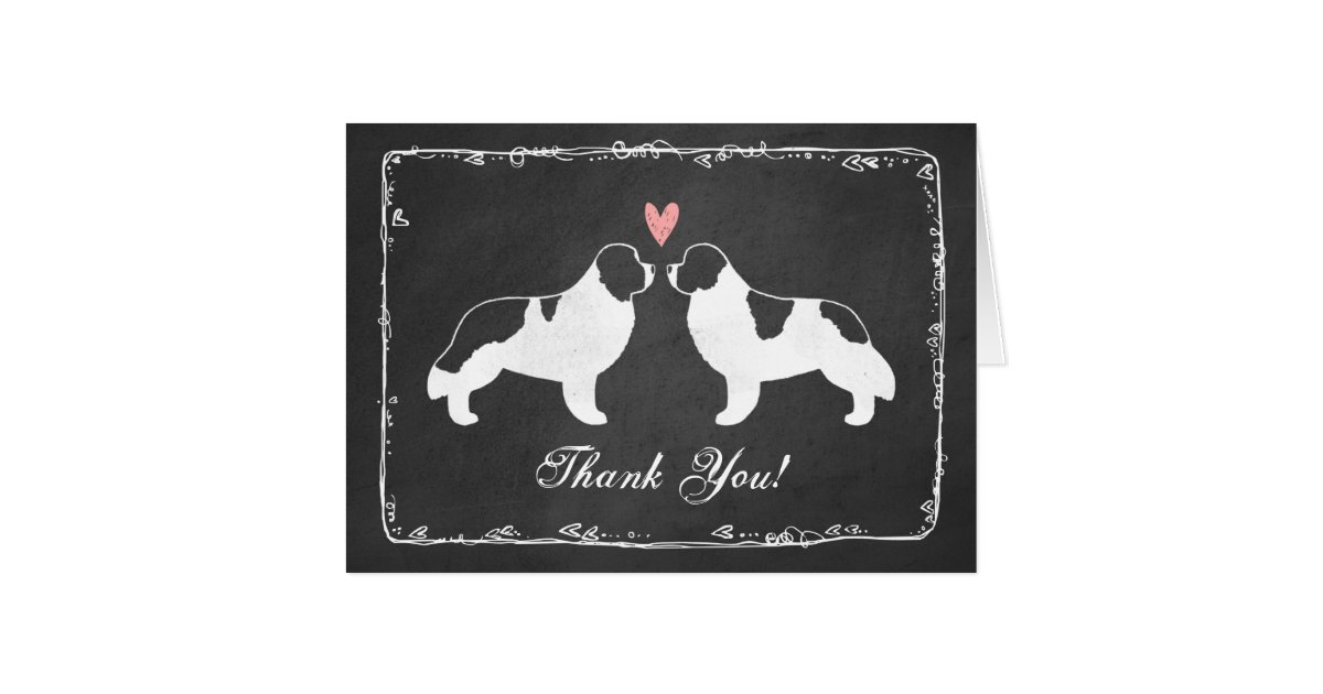 newfoundland dog silhouettes wedding thank you card zazzlecom