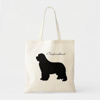 Newfoundland dog tote bag,  black silhouette