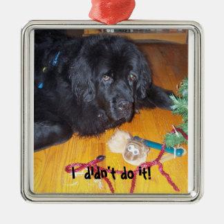 Newfoundland dog tree ornamnet square metal christmas ornament