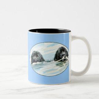 Newfoundland Dogs Swimming Two-Tone Coffee Mug
