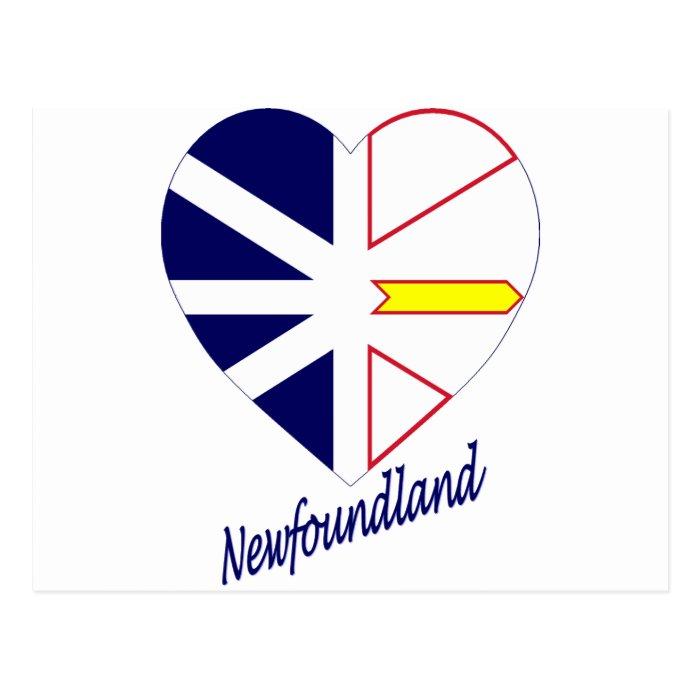 Newfoundland Flag Heart with Name Postcard