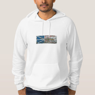 Newfoundland Flag on Rough Wood Boards Effect Hoodie