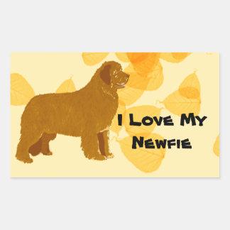 Newfoundland - Gold Leaves Design Rectangular Sticker