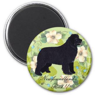 Newfoundland - Green Leaves Design 2 Inch Round Magnet