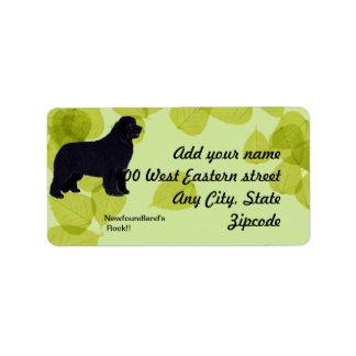 Newfoundland - Green Leaves Design Address Label