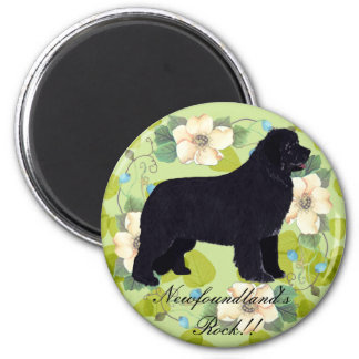 Newfoundland - Green Leaves Design Refrigerator Magnet
