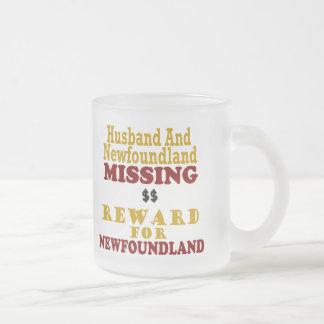 Newfoundland & Husband Missing Reward For Newfound 10 Oz Frosted Glass Coffee Mug