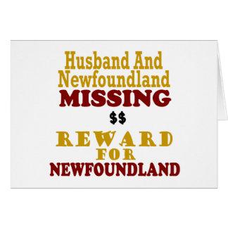 Newfoundland & Husband Missing Reward For Newfound Greeting Card