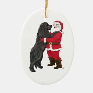 Newfoundland Jowly Christmas Greeting Ceramic Ornament