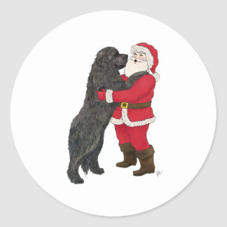 Newfoundland Jowly Christmas Greeting Classic Round Sticker