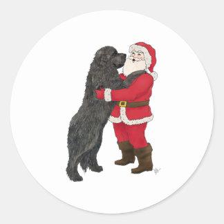 Newfoundland Jowly Christmas Greeting Classic Round Sticker