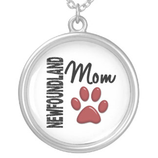 Newfoundland Mom 2 Silver Plated Necklace