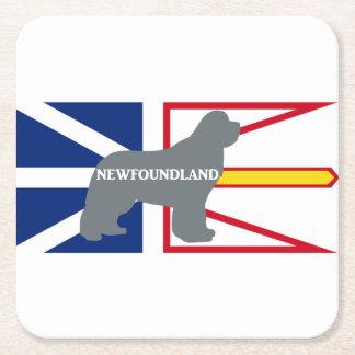 Newfoundland name silo on flag grey square paper coaster