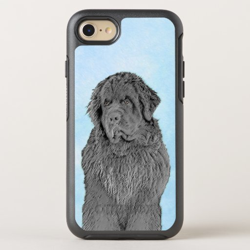 Newfoundland Painting - Cute Original Dog Art OtterBox Symmetry iPhone SE/8/7 Case