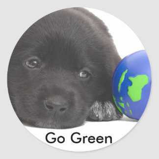 Newfoundland Puppy With Earth Round Sticker