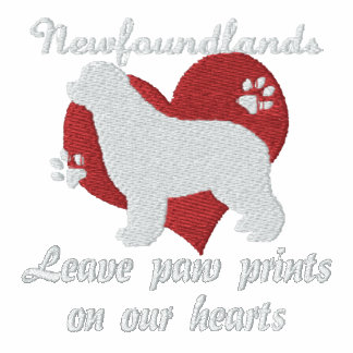 Newfoundlands Leave Paw Prints Embroidered Shirt