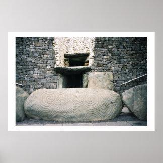 Newgrange Ireland Ancient Spiral Stone Symbols Poster