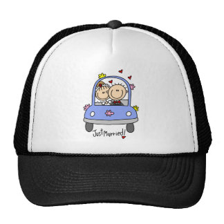 Newleywed Just Married Stick Figures Hat