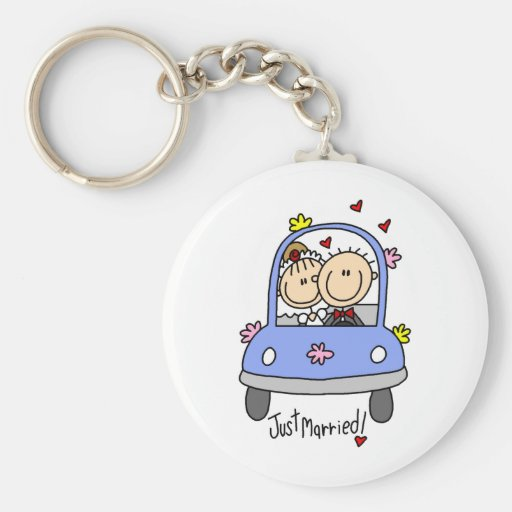 Newleywed Just Married Stick Figures Key Chains