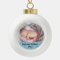 Newly Born Baby First Christmas Holiday Photo Ceramic Ball Christmas Ornament