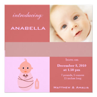 Newly Born Baby Girl Announcement