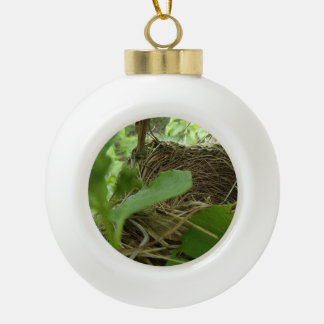 Newly Built but Empty Bird Nest in a Mulberry Tree Ceramic Ball Christmas Ornament