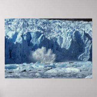 Newly-calved iceberg splashing into chilly poster