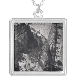 Newly Discovered Mines in the Rocky Mountains Square Pendant Necklace