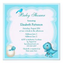 Newly Hatched Baby Boy Dinosaur Baby Shower Invitation