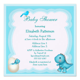 Newly Hatched Baby Boy Dinosaur Baby Shower Personalized Invites