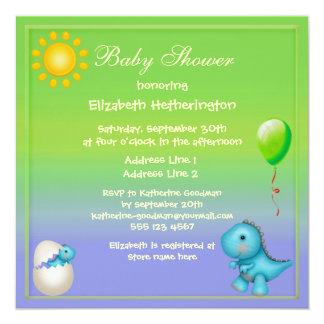 Newly Hatched Baby Boy Dinosaur Baby Shower Invitations