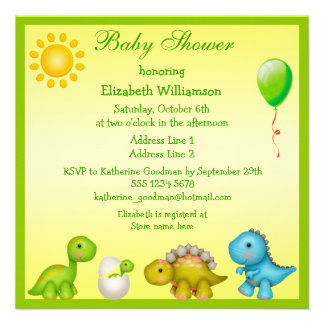 Newly Hatched Baby Dino Dinosaurs Baby Shower Personalized Invites