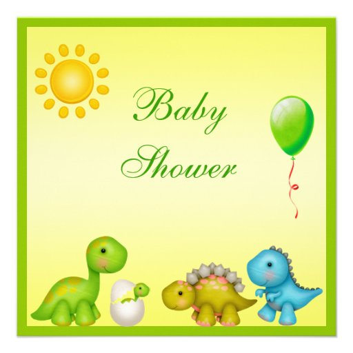 Newly Hatched Baby Dino & Dinosaurs Baby Shower Personalized Invites (back side)