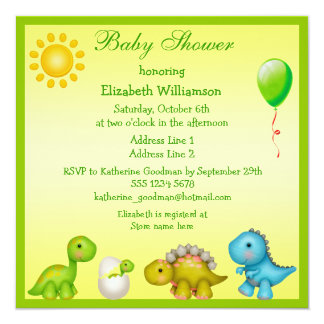 Newly Hatched Baby Dino & Dinosaurs Baby Shower Personalized Invites