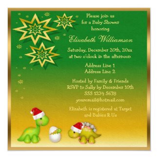 Newly Hatched Baby Dino Festive Baby Shower Custom Announcements