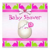 Newly Hatched Baby Girl Dinosaur Baby Shower Invitation