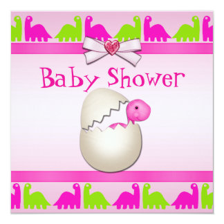 Newly Hatched Baby Girl Dinosaur Baby Shower 5.25x5.25 Square Paper Invitation Card