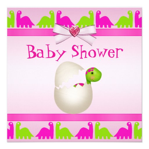 Newly Hatched Baby Girl Dinosaur Baby Shower Announcement