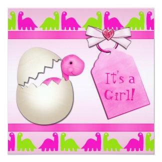 Newly Hatched Baby Girl Dinosaur Baby Shower Custom Invitations