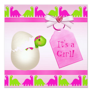 Newly Hatched Baby Girl Dinosaur Baby Shower Announcements
