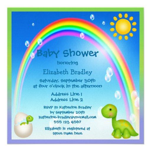 Newly Hatched Dinosaur Rainbow Baby Shower Invitations